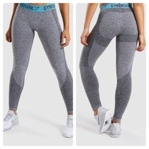 Gymshark Flex Leggings Charcoal Marl Dusky Teal